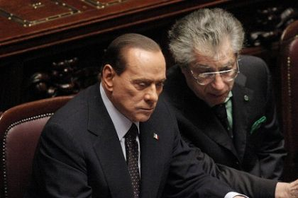 berlusconi e bossi in declino