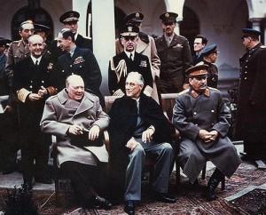 La Conferenza di Jalta (o Yalta) fu un vertice tenuto nel febbraio del 1945 a pochi mesi dal termine della seconda guerra mondiale, nell'omonima città sovietica, i cui protagonisti tre protagonisti furono Roosevelt, Churchill e Stalin, capi dei governi degli Stati Uniti, del Regno Unito e dell'Unione Sovietica.