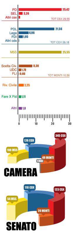 Risultati elezioni 2013 distribuzione seggi