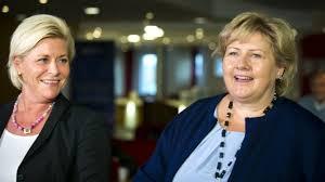 Siv Jensen (leader del Partito del Progresso) ed Erna Solberg (leader della Destra)