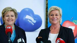 Erna Solberg (a sinistra) e Siv Jensen: due donne alla guida della Norvegia