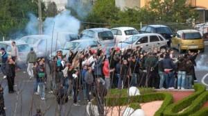 Gli ultras nocerini presenti all'hotel di Mercato San Severino