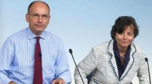 Enrico Letta e il ministro dell'Istruzione, Maria Chiara Carrozza