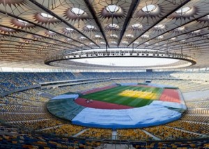 Lo Stadio Olimpico di Kiev è divenuto uno dei simboli della rivolta ucraina.