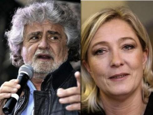 Beppe Grillo e Marie Le-Pen.