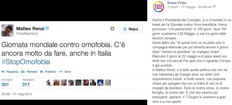 Il post di Roma Pride contro Matteo Renzi.