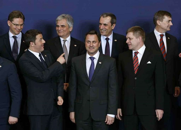 European Union leaders attend a family photo at a European Union leaders summit in Brussels