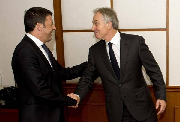 renzi con tony blair in cina