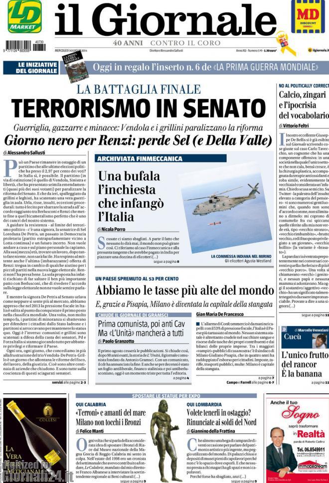 Rassegna stampa salta la trattativa al senato for Il senato italiano