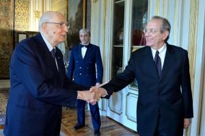 Napolitano vede Padoan: �Importanti le dichiarazioni di Draghi�