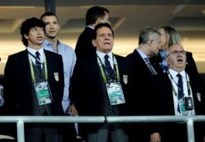 Da sinistra a destra. Albertini, Shevchenko, Macalli e Tavecchio