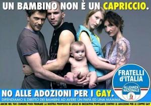 Fratelli d�Italia, manifesto-shock contro le adozioni gay. Oliviero Toscani insorge: foto rubata, li denuncio
