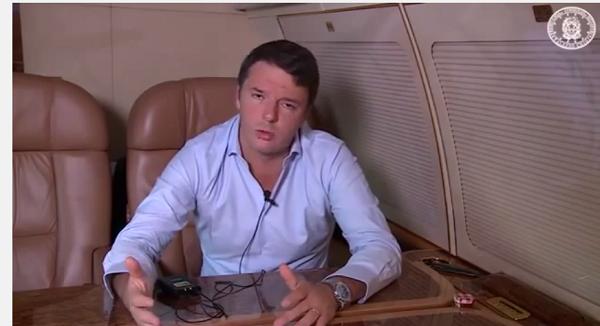 aereo renzi registra video in volo di ritorno da usa