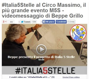 grillo m5s circo massimo per italia a 5 stelle