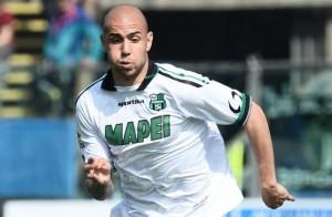 Zaza in azione con la maglia del Sassuolo. Per lui 10 reti nella scorsa stagione