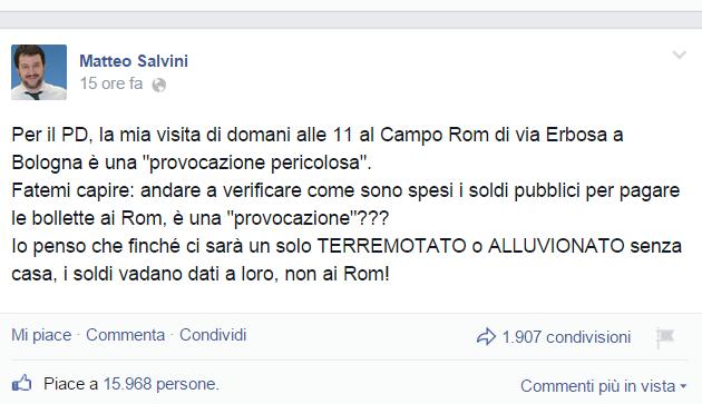 salvini a bologna in campo rom