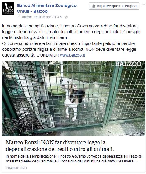 chenge depenalizzazioni animali