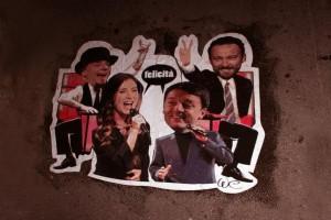 A Roma spunta murales Boschi Renzi in versione Albano e Romina nei panni di concorrenti di The Voice