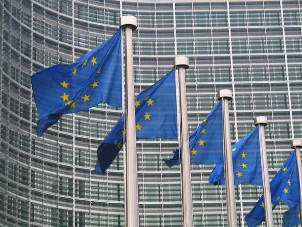 Taglio Tasi, foto delle bandiere fuori la Commissione Europea