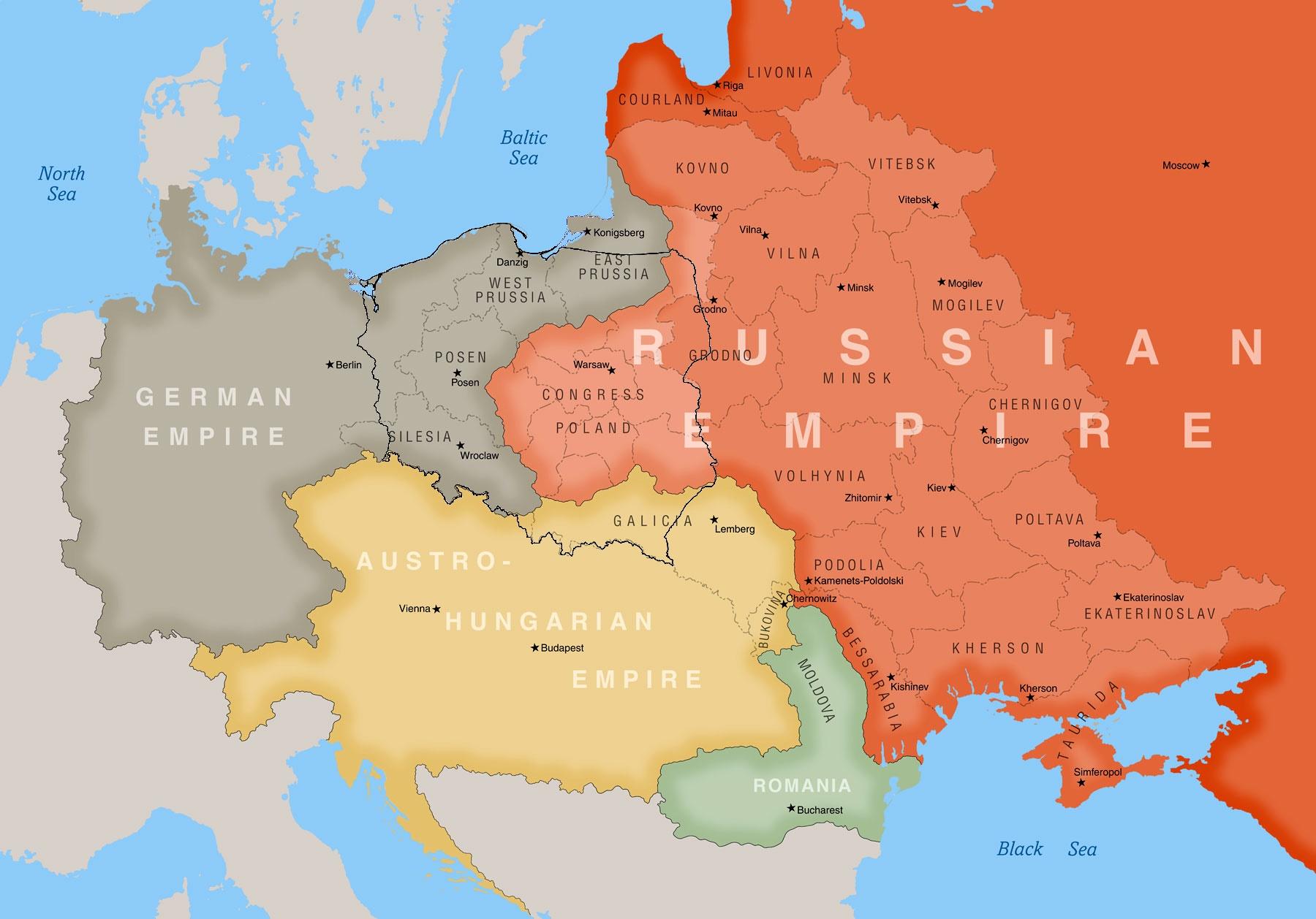 Carta geografica della Polonia nel 1900