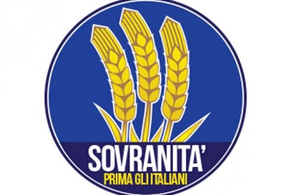 simbolo della destra con sfondo blu e tre spighe al centro con la scritta sovranita e sotto prima gli italiania
