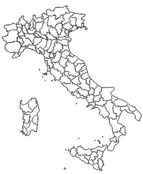 Piantina dell'Italia con i nuovi collegi dell'Italicum