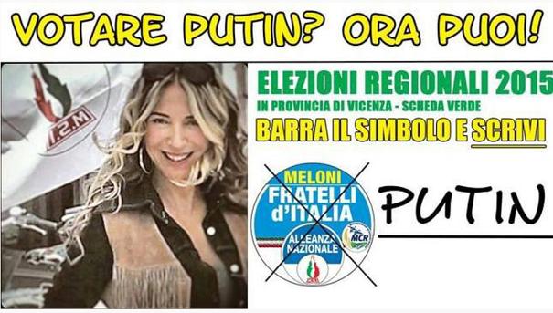 santino elettorale di una candidata di fratelli d'italia di cognome putin