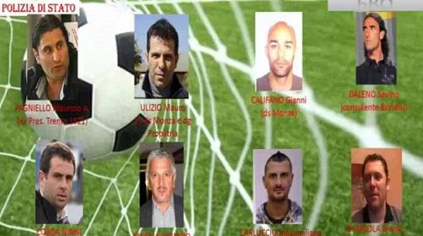immagine della dda di catanzaro con le foto di alcuni degli arrestati per lo scandalo calcio scommesse