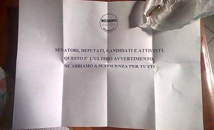 lettera minaccia a m5s denuncia di battista su facebook