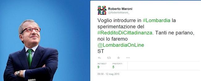 immagine tweet con presidente regione lombardia annuncia reddito cittadinanza e affianco sua foto con sfondo azzurro