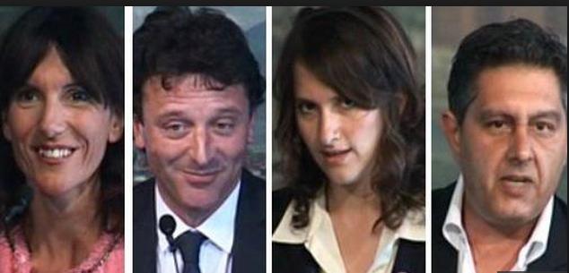 foto di quattro candidati alla presidenza della regione liguria paita pastorino salvatore e toti