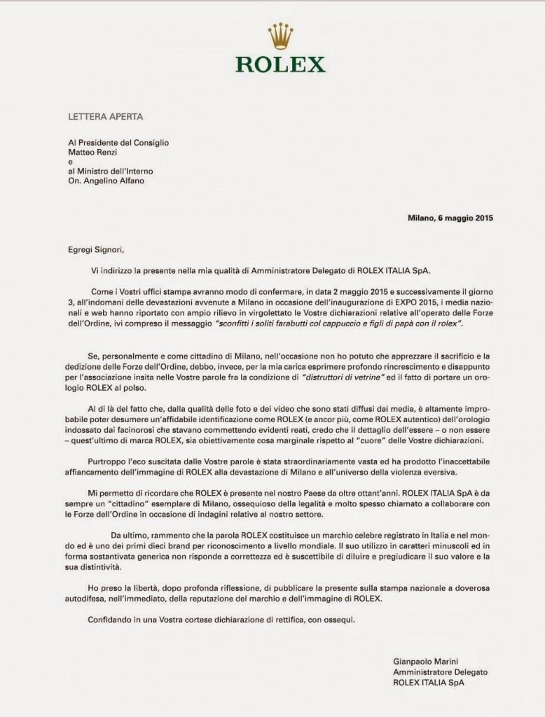 rolex lettera governo