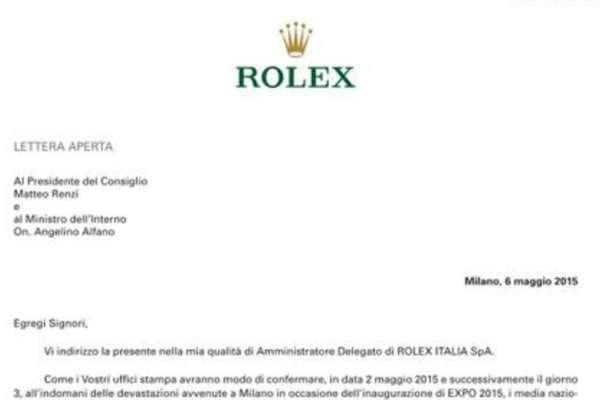 rolex lettera renzi alfano