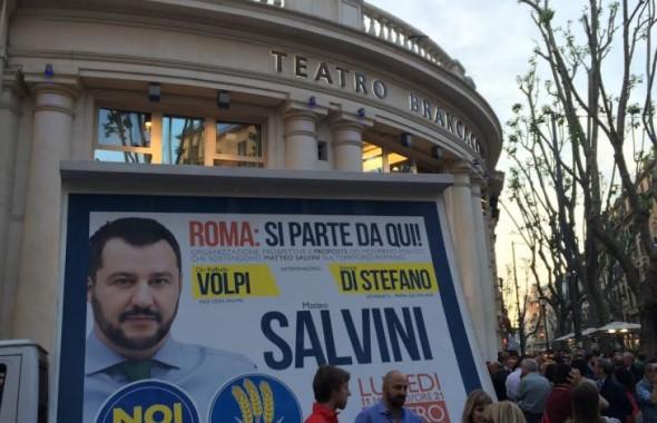 affissione manifesto iniziativa politica presso teatro brancaccio di roma