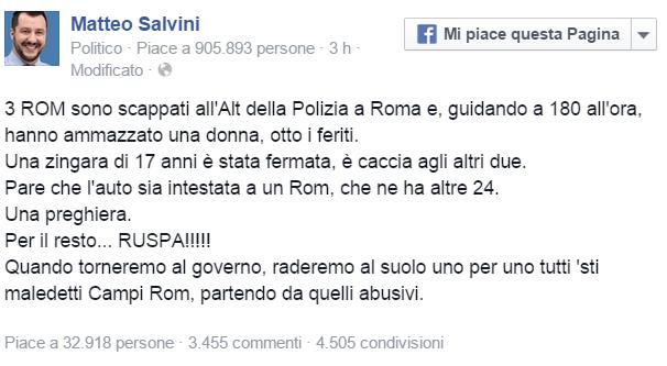 post di salvini contro i campi rom