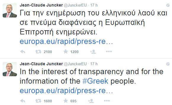 crisi greca , due tweet scritti in inglese e in greco