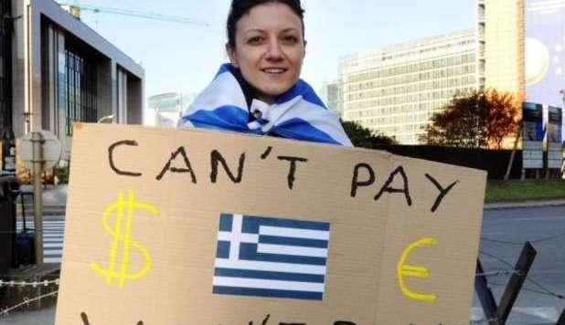 immagine di una greca manifestante