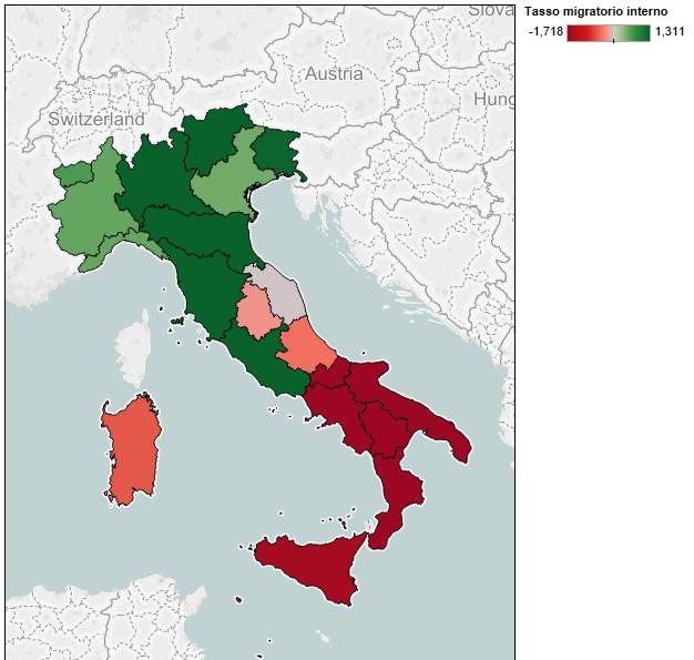 crisi demografica: mappa dellItalia colorata in rosso o verde in base ai valori dell'emigrazione interna