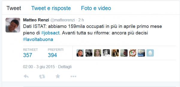 foto tweet renzi dopo comunicazione istat dati aprile 2015