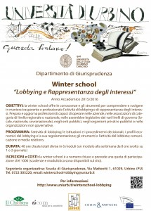 Lobby: ad Urbino la prima Winter School �Lobbying e Rappresentanza degli interessi�