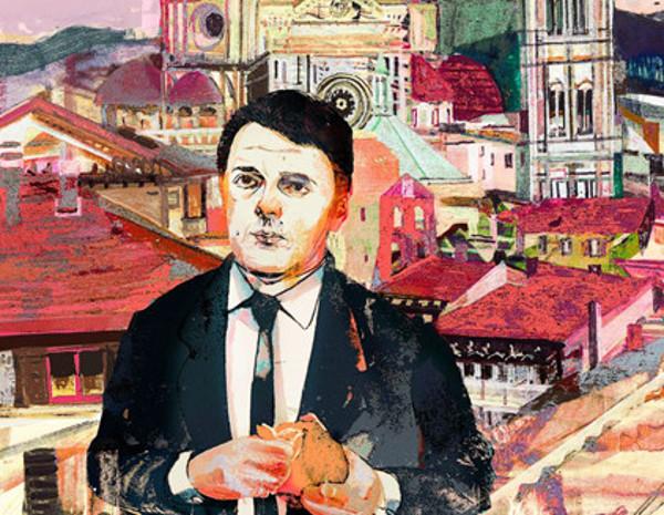 dipinto che ritrae Matteo Renzi, sullo sfondo la città di Firenze.