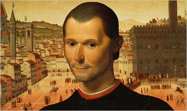 Matteo Renzi: ritratto di Niccolò Macchiavelli, sullo sfondo la piazza di una città