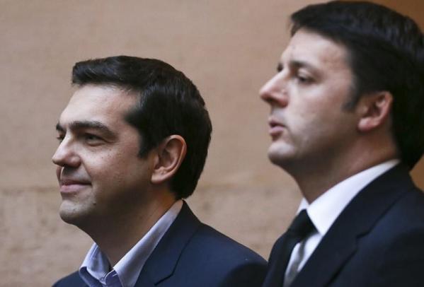 renzi sulla destra e tsipras affianco