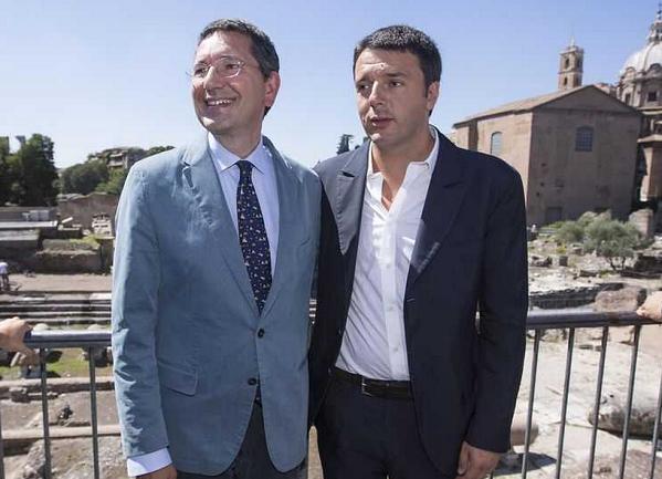 renzi in visita a roma col sindaco ignazio marino