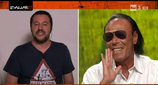 """immagine a sinistra Matteo Salvini indossa una maglietta nera con logo bianco. Immegine a destra, Antonello Venditti in camicia bianca e occhiali da sole con la mano """" a megafono"""""""