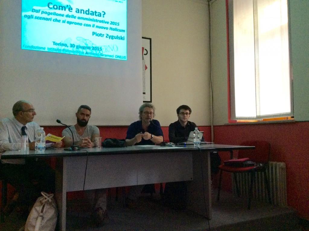 Convegno del 30 giugno 2015 a Torino. Da sinistra: Gianni Garbarini, Giuseppe Tipaldo, Paolo Natale, Piotr Zygulski