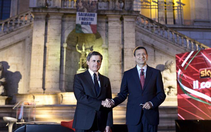 Il sindaco di Roma Marino ed il suo predecessore Alemanno