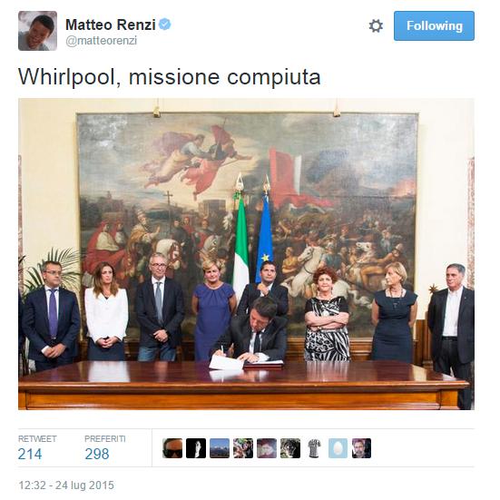 Maurizio Landini, tweet di Renzi sugli accordi Indesit Whirpool