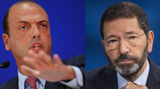 Il ministro dell'Interno Alfano ed il sindaco di Roma Marino