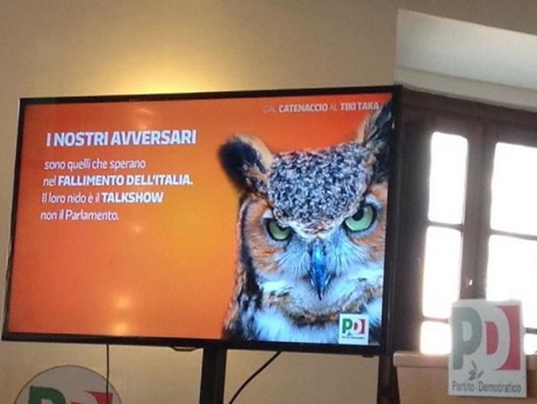 slide proiettata durante incontro tra renzi e deputati pd per analizzare criticità pd in tv